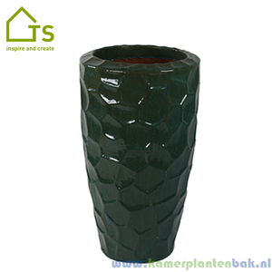 Cascara partner relief turquoise, keramiek plantenbak
